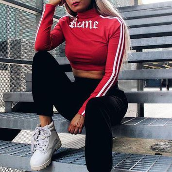 DCCKXT7 Women Sport Casual Stripe Letter Print Two Sides Wear Bodycon Long Sleeve T-shirt Crop Tops