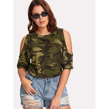 Open Shoulder Camouflage Top