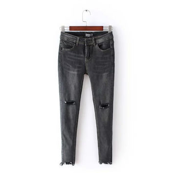 Summer Rinsed Denim Weathered Ripped Holes Slim Stretch Jeans Cropped Pants [6332321796]