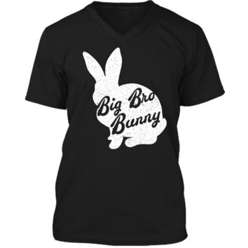 Funny & Cute Easter Tshirt Big Bro Bunny Easter Brother Tee Mens Printed V-Neck T
