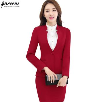 Formal skirt suit female set business elegant work uniforms autumn winter long sleeve blazer with skirt office plus size suits