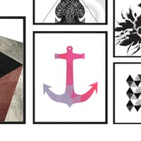 Anchor Printable - Coral and Gray Anchor Printable Wall Art, Preppy Anchor,Colorful Nursery Decor,Geometric print, Preppy Prints