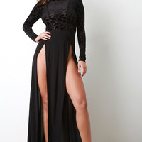 High Double Slit Contrast Maxi Dress