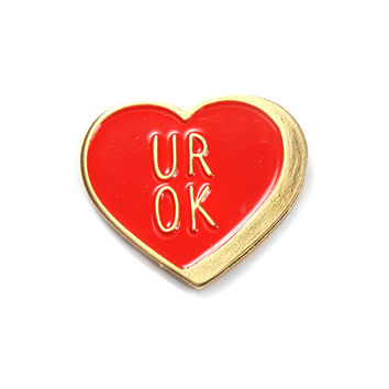 UR OK Heart Pin - Red