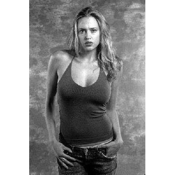 Estella Warren poster Metal Sign Wall Art 8in x 12in Black and White
