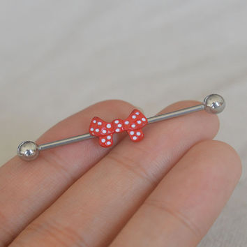 industrial barbell,bow industrial barbell,Polka dots earring,friendship earring