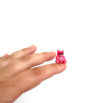 Micro teddy bear, needle felted mini pink bear, dollhouse miniature, tiny, extra small, doll accessory