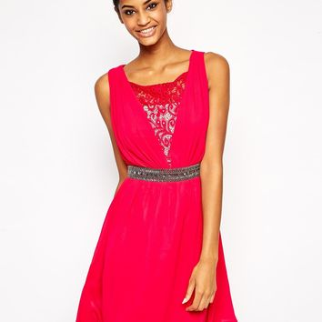 Little Mistress Lace Prom Dress with Embellished Waist
