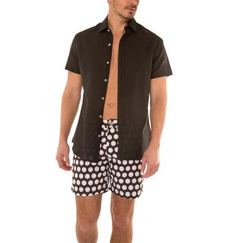 Argyle Grant S/S Button Down Black