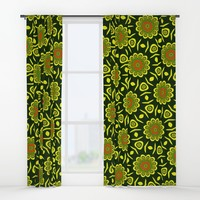 Cute ethnic floral pattern Window Curtains by Natalia Bykova
