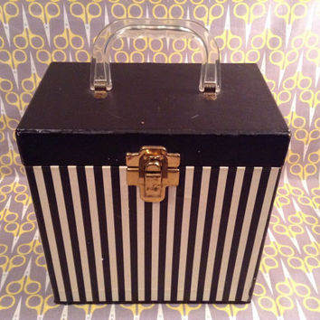 Vintage 1960s Black and White stripes record storage box 45 Platter Pak type lp vinyl carrier case tote
