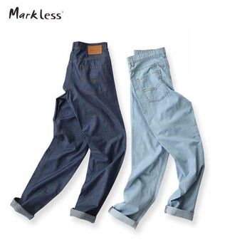 Markless Fashion Men's Washed Jeans Male Summer Thin Fluid Light Color Skinny Pants Slim Pencil Casual Jeans Linen Trousers