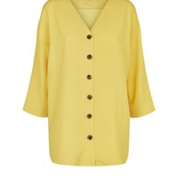 Cameo Rose Mustard Button Front Oversized Blouse | New Look