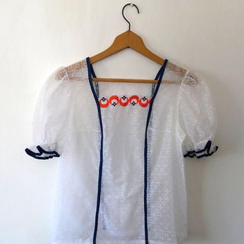 White lace pretty floral blouse. sheer. embroidered. blue. red. gypsy. vintage. summer. boho. scallop collar. frill. puff sleeve top