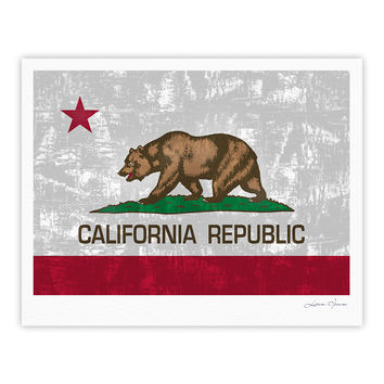 "Bruce Stanfield ""California Flag"" Gray Red Fine Art Gallery Print"
