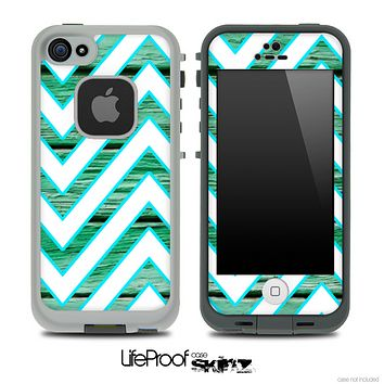 Large Chevron and Green Wood Skin for the iPhone 5 or 4/4s LifeProof Case