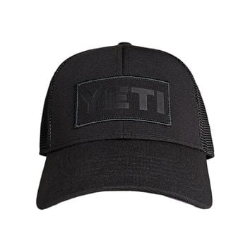 Black On Black Patch Trucker Hat in Black by YETI