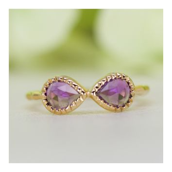 Natural Amethyst In 14 Karat Gold-Plated Sterling Silver Hammered Band Infinity Ring
