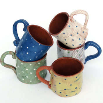 Espresso Cup-Ceramic Cup-Coffee Lovers Gift-Polka Dotted Mug
