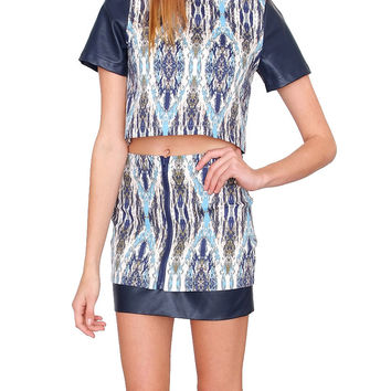 Gallery Two Piece Dress Set - Navy/Multi