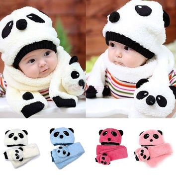 Fashion Baby Toddler Girl Boy Warm Cute Panda Hat Cap Beanie Scarf Set 18499 Apparel & Accessories = 1651241348