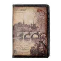 Vintage Style Postage Stamp Cite Island Travel Passport Cover (Brown)
