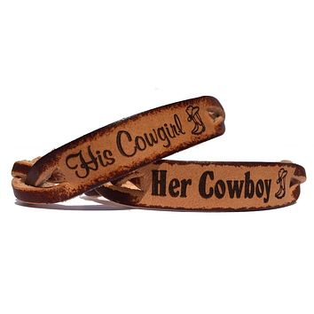 Her Cowboy His Cowgirl Engraved Leather Bracelets (Pair)
