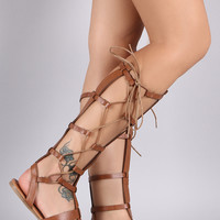 Wild Diva Lounge Caged Side Lace Up Gladiator Flat Sandal