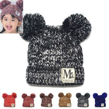 NOVO5 Moeble New Fashion Baby Girls Boys Beanie Hats Kids Children Dual Ball Knit Sweater Cap Hats Winter Warm Knitted hats