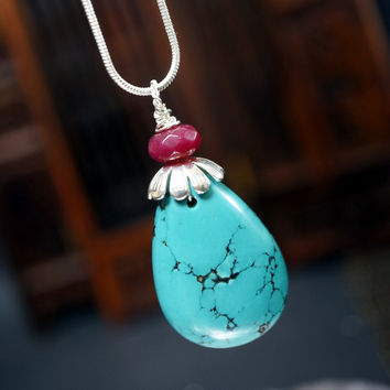 Turquoise Necklace Silver - Ruby Necklace - Teardrop Large Turquoise Pendant -  Chunky Turquoise -  Long Chain Stone December Birthstone -