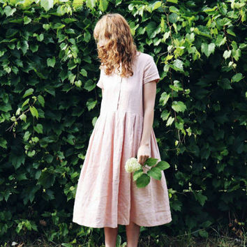 Linen Dress - Rose Linen Dress - Short Sleeved Linen Dress - Handmade by OFFON