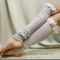 """LEGWARMERS Lacey   - silver cotton cable knit  2"""" venise  lace leg warmers womens Catherine Cole Studio  legwarmers made in usa  (LW59)"""
