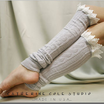 "LEGWARMERS Lacey   - silver cotton cable knit  2"" venise  lace leg warmers womens Catherine Cole Studio  legwarmers made in usa  (LW59)"