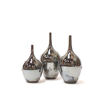 SECONDS SALE~ 3Teardrop Bottle Vases in Silvertone Metallic by Sara Paloma