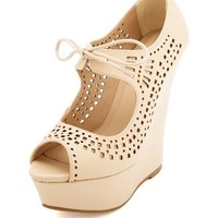 LASER-CUT LACE-UP PEEP TOE WEDGE