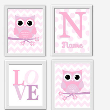 OWL Baby Girl Nursery Wall Art Pink Lavender Purple Personalized Art Girl Room Wall Decor Nursery Owl Decor Baby Girl Nursery Decor LOVE Art