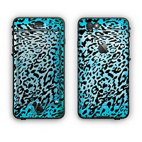 The Hot Teal Cheetah Animal Print Apple iPhone 6 LifeProof Nuud Case Skin Set