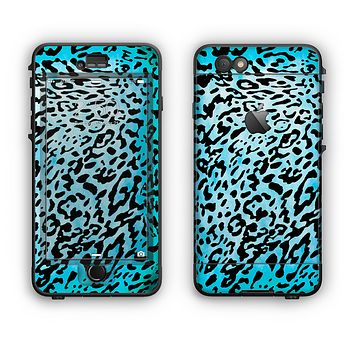 The Hot Teal Cheetah Animal Print Apple iPhone 6 Plus LifeProof Nuud Case Skin Set