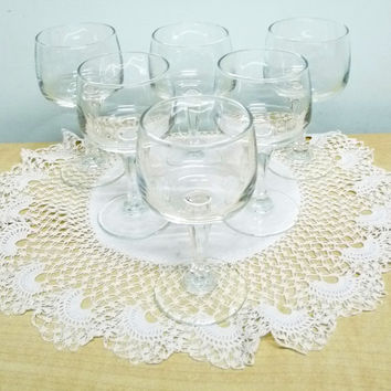 Lead Crystal Wine or Cordial Glasses x 6, Hexagonal Stems, Plain Bowls, Clear Glass, Snifter, Fortified Wine, Stemware, Glassware, 0604