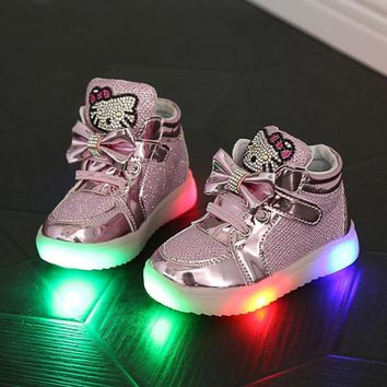 2016 Children Shoes Girls Led Shoes Cartoon Kt Cat Bow Children Sneakers With Light Le