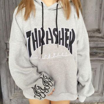 VONE7N2 Thrasher Fashion Casual Women Men Long Sleeve Print Letter Hoodie Sweater Grey G
