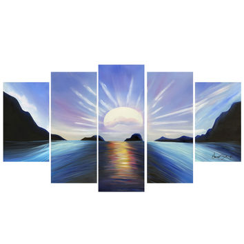 Blue View of Calming Waters Landscape Canvas Wall Art Print