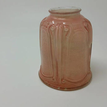 Vintage Art Nouveau Pink Glass Embossed Lamp Shade