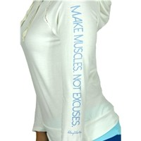 Make Muscles Not Excuses Mesh Hoodie in White