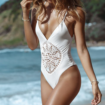 Frankie's Bikinis || Poppy one piece in seashell