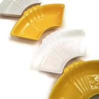 Mid Century California Vintage Ceramic Dishes Lazy Susan Style Yellow and White