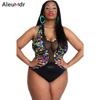 2017 summer swimwear one piece Maillot De Bain Push Up Sheer Mesh Insert Stunning Printed Plus Size Monokini Swimsuit 41836