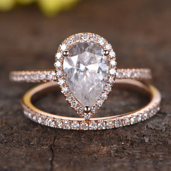 1.5 Carat Pear Shaped Moissanite Engagement Ring Set Diamond Matching Band 14k Rose Gold Halo Stacking Thin