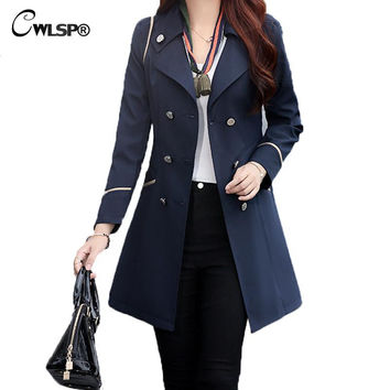 Plus Size 3XL Double Breasted Elegant Trench duster Coat  Autumn Winter Long Outwear Women Slim Overcoat casaco feminino QZ1735