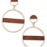BP. Wood Detail Hoop Earrings | Nordstrom